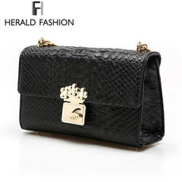 Wholesale Laptop Bags Pattern - Herald Fashion Snake Pattern Small Bag Ladies Shoulder Bag Chain Crossbody Messenger Woman Bags Laptop Handbag