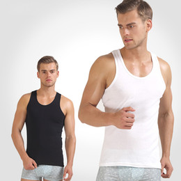 Wholesale H Cotton - Wholesale- Men's close-fitting vest fitness elastic breathable H type all 100%cotton undershirts male tanks