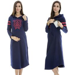 Wholesale Sweaters For Pregnant Women - Cotton Maternity dress casual wearing Breastfeeding dress comfortable sweater Nursing dress clothes for Pregnant Women