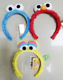 Wholesale Elmo Sale - 15% off! 6pcs lot new Hot Sale Baby Hair Accessories Baby Sesame Street Elmo headband Toddler cartoon face Hairband Cookie Monster hair hoop