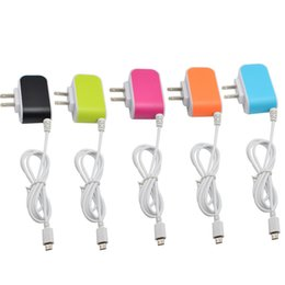 Wholesale Glowing Iphone Cable - US EU plug USB Charger 5V 3.1A 3USB Candy Color Glow Travel Charger for Android Phone Charger with Micro USB Cable