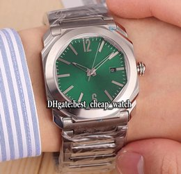 Wholesale Square Shape Watches - Super Clone Luxury Brand 5 Colors OCTO 102031 Steel Case Green Dial 42mm Square Shape Automatic Mens Watch Sapphire Glass SS Band BGC-A01C