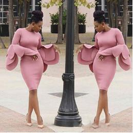 Wholesale Short Dresses Large Sizes - Vintage Pink Saudi Arabia Prom Dresses Large Petals Design Long Sleeves Evening Gowns South African Sheath Knee Length Women Party Vestidos