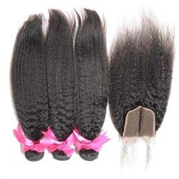Wholesale Cheap Yaki Hair Weave - Coarse Yaki Kinky Straight Top Closure With Hair Bundles Natural Color Malaysian Hair Cheap 3 Bundles Human Hair With Lace Closure 4Pcs Lot