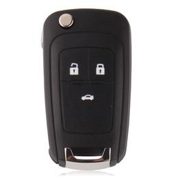 Wholesale Logo Chevrolet Cruze - Flip Folding Key Shell for Chevrolet Cruze Remote Key Case Keyless Fob 3 Button Uncut HU100 Blade for Chevrolet LOGO included