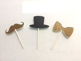 Wholesale Cupcake Hats Wholesale - Christmas Mustache Bowtie Top Hat cupcake topper Bachelorette bridal shower birthday food Picks wedding party cake toppers decoration