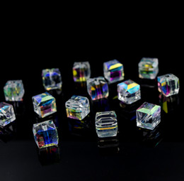 Wholesale Material Jewelry Making - 300pcs AB Color Crystal Square Beads For Jewelry Making Decorative Glass DIY Beads Material Crystal Cube Beads 4 6 8mm
