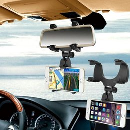 Wholesale Cell Phone Auto Mount - Free DHL Car Auto Rearview Mirror Mount Cell Phone Holder Bracket Stands For Samsung xiaomi Huawei For iPhone Mobile Phone GPS