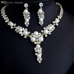 Wholesale Twinset Jewelry - Wholesale-Fashion pearl jewelry set, Fashion jewellery settings, Wedding Bride Pendant&earrings(twinset),Free necklace Vintage Jewelry