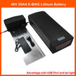 Wholesale Electric Scooter Battery Charger 48v - 48V 1000W Lithium battery 48V 20AH Electric Bike Scooter Battery with 5V 1A USB port and Tail Light 54.6V 2A Charger