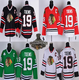 Черный ледяной блэкхокс трикотаж онлайн-Мужская Chicag Blackhawks Джерси #19 Джонатан Toews Главная красный черный белый высокое качество шить вышивка логотип хоккей трикотажные изделия