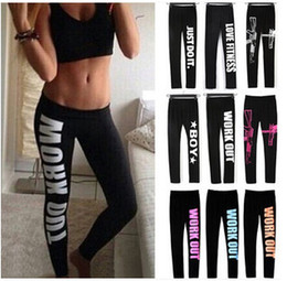 Wholesale High Leggings - Hot Fashion Winter Comfortable Women Workout Fit Pants Tight fitting Work Out Just Do it Print Loose Cotton Leggings One Size LN1011