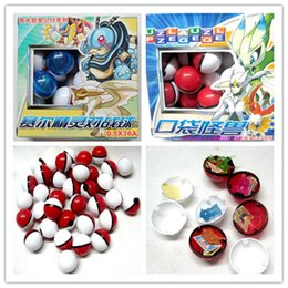 Wholesale Video Game Stickers - 2016 Halloween Poke Tap Ball Children's Toys Magic Baby Cartoon Anime Peripheral Ball with Doll Card Stickers Elves Balls 36 Pieces a Box