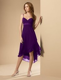 Wholesale Cheap Coral Dresses China - Spaghetti High Low Purple Chiffon Bridesmaid dresses 2016 Cheap Vintage Maid of Honor Dresses from China