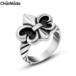 Wholesale Goth Silver Ring - NEW Trendy Fleur De Lis band Ring for Women Mens Vintage Silver Tone Goth Jewerly Gift Size 6-9 Wholesale Dropship Free shipping R722