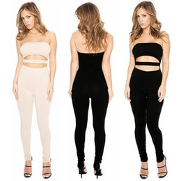 Wholesale Khaki Jumpsuits For Women - Sexy Nightclub Jumpsuits For Women Sleeveless Leotard Hollow Splice Chest Wrapped Backless Rompers Siamese Pants Tight Trousers QH2175