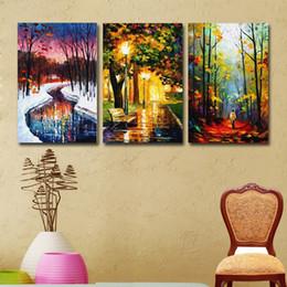 Pitture paesaggistiche online-3 pezzi Abstract Landscape Paintings Winter Forest Scenery Pittura ad olio Stampa su tela per soggiorno Decorazione domestica moderna