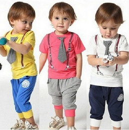 Wholesale Baby Boy Tie T Shirt - New Kids Baby Clothing Sets Boy Cotton Tie Belt Print Tops T Shirt With Short Pants Suit White Summer Clothes Free shipping