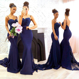Wholesale Silk Wedding Dresses Cheap - Custom Made Cheap Bridesmaid Dresses Country Mermaid Spaghetti Straps Vintage Lace Applique Beading Formal Wedding Guest Dresses With Sash