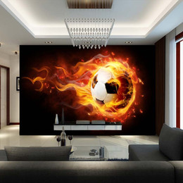 Wholesale Photo Decal Paper - Wholesale- 3D Football Mural wallpaper Soccer full Wall Murals print decals Home Decor photo wallpaper