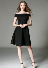 Wholesale Trumpet Midi Dress - Black dress New collar strapless dress slim waist short sleeved little black dress OL Europe elegant slash neck skirt