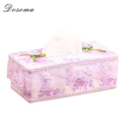 Wholesale Rustic Tissue Box - Wholesale- New Rustic Rectangle Fabric Lace Floral Tissue Box For Car Removable Tissue Box Holder Home Desk Decor Plastic Napkin Case Cover