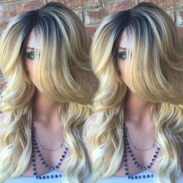 Wholesale Long Hair Tone - Brazilian Full Lace Wigs Lace Front Wigs Glueless Blonde Ombre Human Hair Wigs T1b 613 Two Tone Ombre Wigs