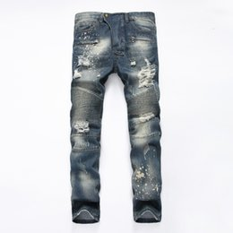 Wholesale Men Jeans Size 38 - 2017 Famous Distressed patches Biker Cargo Jeans stretch Demin jeans Hiphop Cropped Pants with Extreme ripped Straight Plus size 28~38