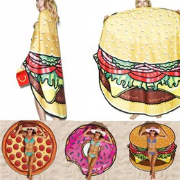 """Wholesale Swimsuit Cover Up Towel - 55"""" Large Beach Mat Swimsuit Cover Ups Swim Towel Bathing Suit Cover-ups Sexy Shawl Lie On Donut Pizza Hamburger F416"""