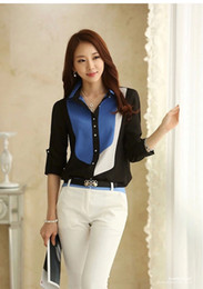 Wholesale Mix Colors S Blouses - free shipping high quality Korean Slim chiffon Blouse Mixed colors Womens Occupation shirts temperament Shirt Long sleeve shirt