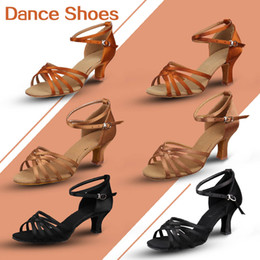 Wholesale Latin Dance Shoes Brands - Brand new heeled salsa tango black brown beige color women ladies new fashion style latin dance shoes