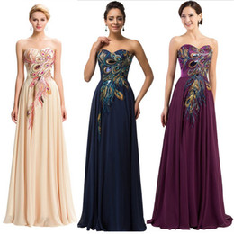 Wholesale Vestidos Noche Satin - In Stock Sweetheart Long Evening Dresses Peacock Appliques Floor-length Lace up Back Formal Evening Gowns Prom Dresses Vestidos de noche