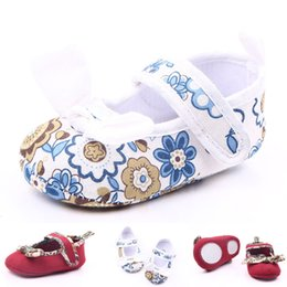 Wholesale Elegant Girls Shoes - New Arrival Wholesale Elegant Cotton Fabric Upper TPR Outsole Hook & Loop Toddler Baby Walking Shoes Dress Casual Shoes Non-slip