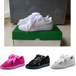 Wholesale Satin Bow Shoes - hot sale suede basket heart satin black white and pink flat shoes casual shoes silk banded bow goddess shoes with box 36-40