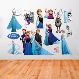 Wholesale Wall Sticker Snow - Ice and Snow Princess Movie Wall Stickers Home Decor Window Wall Cartton Vinyl Wall Stickers Removable Wall Decals Art ZY1431