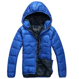 Wholesale Puffer Jacket Men - High Quality 2016 New Winter Men's Duck Down puffer jacket Casual Brand Hoodies Down Parkas Warm Ski Mens Coats Black Red Size S-XXL