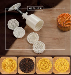 Wholesale pressure barrels - Wholesale- Mid-Autumn Festival Moon Cake Mould Hand Pressure Flower Decoration Motif Pastry 50g Round Shape One Barrel 4 Model PK003