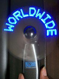 Wholesale Mini Led Message Fan - Battery-Operated Message Flashing Led Mini Fan Led Fan,led light up gift mini fan for wholesales(blue)