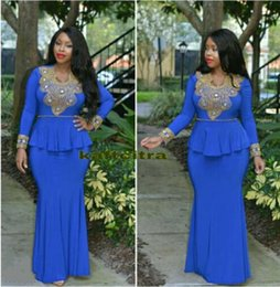 Wholesale Spandex Nude Women - 2017 Plus Size Long Sleeve Mermaid Evening Dresses with Gold Lace Appliques Fashion Spandex Red Carpet Gowns Women Pageant Dresses