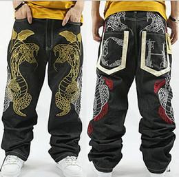 Wholesale Capri Dance Pants - 2016 New Men True Jeans Famous Brand 3D embroidery Hip Hop Pants Capri Casual Loose Hiphop Dance Breeches Denim Jean 30-46