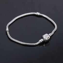Wholesale Barrel Plating - 3mm 16-20cm 925 Silver Plated Bracelet Snake Chain with Barrel Clasp Fit European Beads Pandora Bracelets DIY