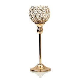 Wholesale wholesale votive candles holders - Crystal Candle Holder Metal Tealight Candlestick for Wedding Centerpieces Holiday Candelabra Home Decoration Table Centerpieces 10pcs lot