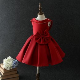 Wholesale Kids Backless - Girls Party dress New children beaded big bows princess dresses kids backless red dress Girls Christmas dress Kids wedding Ball Gown A00005
