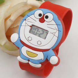 Wholesale Doraemon Girls Watches - Fashion lovely Doraemon cartoon Electronic watch for child gift wholesale boys girls students silicone Digital watches cat Children's day