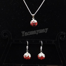Wholesale Disco Ball Necklace Gradient - Rhinestone Shamballa Set Gradient Red Disco Ball Pendant Earrings And Necklace For Party 10 Sets Wholesale