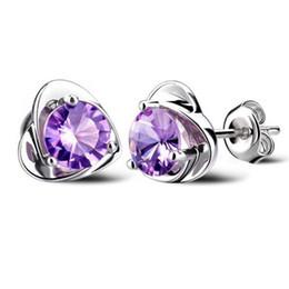 Wholesale Earring Purple - Hot Sale Classic Trendy Loves Stud Zircon 925 Sterling Silver Fashion Jewelry Romantic Exquisite Women Earrings White Purple Free Shipping