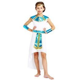 Traje faraó, rei on-line-Gilrs Eypt Tema Traje Elegante Rei Rainha Faraó Cosplay Roupas Set Halloween Carnaval Trajes de Fantasia Vestido