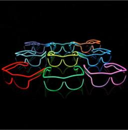 Wholesale Rave Sun - 2016 el glasses El Wire Fashion Neon LED Light Glow Sun Glasses Rave Costume Party DJ Bright SunGlasses Party Decoration supplies