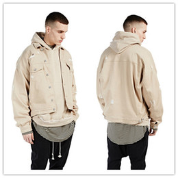 Wholesale Denim Over - fashion Kanye west khaki denim ripped jeans jacket Hot mens hip hop swag street over coat clothes clothing quality bomber military