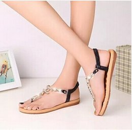 Wholesale Women Shoes Comfortable Heels - Women's shoes 2016 summer styles women sandals female channel rhinestone comfortable flats flip gladiator sandals party wedding shoes Free